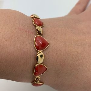 Natural Red Coral Hearts Bracelet 925 Gold Plated